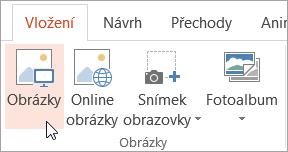 Tlačítko Obrázky na kartě Vložení