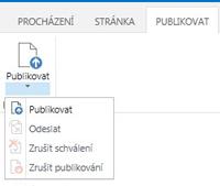 Snímek obrazovky s kartou Publikování, která obsahuje tlačítka pro publikování, zrušení publikování a odeslání stránky publikování ke schválení