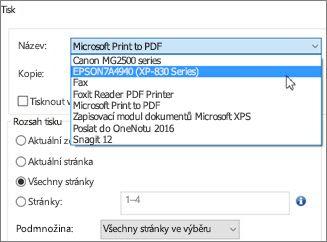 V poli Název klikněte na název tiskárny.