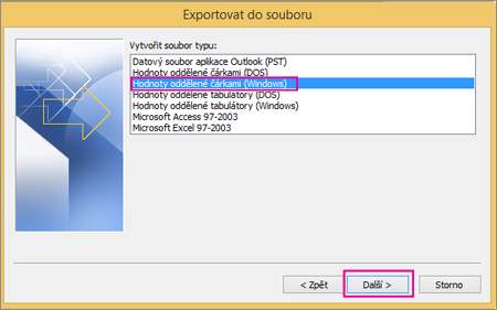 Zvolte export do souboru .csv (Windows).