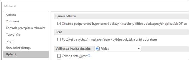 Dialogové okno Možnosti se zvýrazněným zaškrtávacím políčkem Otevřít hypertextové odkazy