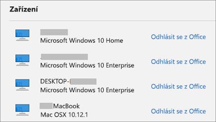 Zobrazuje zařízení s Windows a Mac a odkaz pro odhlášení z Office na webu account.Microsoft.com