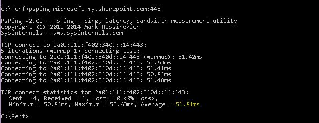 Příkaz PSPing směřující na microsoft-my.sharepoint.com a port 443.