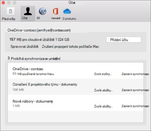 Snímek obrazovky s kartou účet v synchronizačním klientovi OneDrivu pro Mac