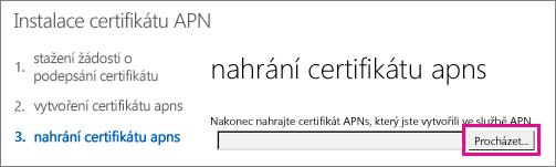Nahrání certifikátu vytvořeného na portálu Apple Push Certificate