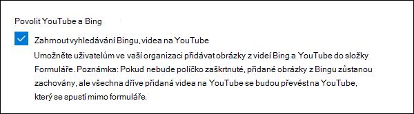 Nastavení správce Microsoft Forms pro YouTube a Bing