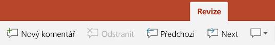 Karta Revize na pásu karet v PowerPointu na tablety s Androidem obsahuje tlačítka pro pomocí komentářů.