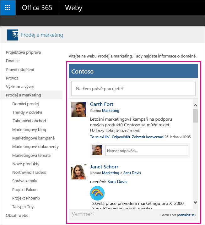 Informační kanál skupiny Yammeru vložené na stránce SharePointu