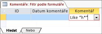 Filtrování podle formuláře