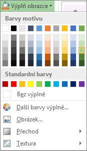 Nabídka barev u tlačítka Výplň obrazce