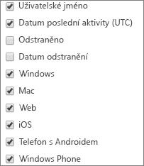 Sestava využití aplikací Microsoft Teams – výběr sloupců