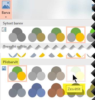 Na kartě Nástroje obrázku – Formát na pásu karet vyberte Barva. V části Přebarvit vyberte možnost Zesvětlit.