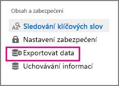Příkaz Exportovat data