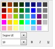 Snímek obrazovky s oknem pro změnu písma