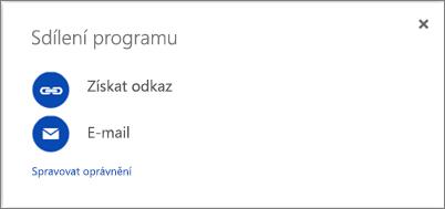 Snímek obrazovky s dialogovým oknem Sdílet