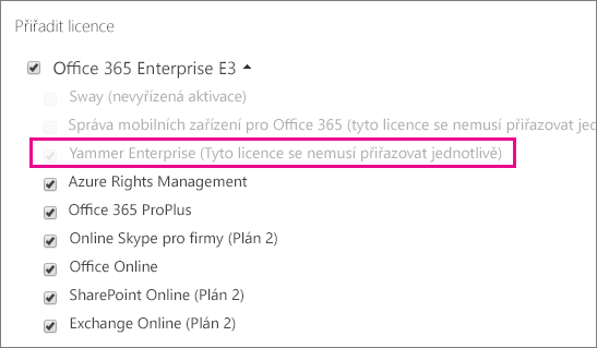 Snímek obrazovky oddílu Přidělit licence centra pro správu Office 365 s vybranou licencí Yammer Enterprise