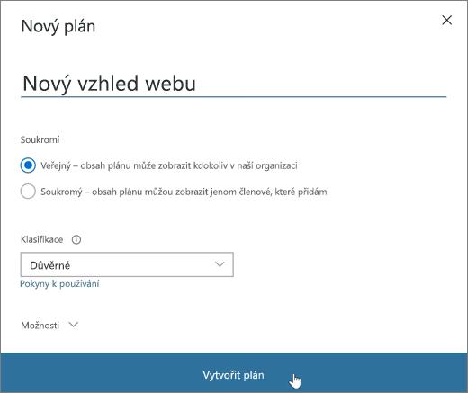 Snímek obrazovky s oknem Nový plán
