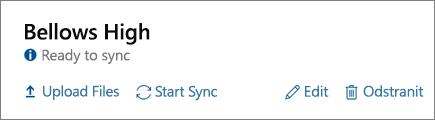 Snímek obrazovky s možnostmi dokončené profilu v řídicím panelu synchronizace dat školy, včetně možnost spustit synchronizaci