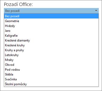 Seznam Pozadí Office v aplikacích Office 2013