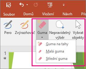 Zobrazuje tlačítko Guma v Nástrojích rukopisu v Office.