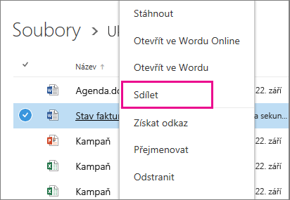 Snímek obrazovky znázorňující sdílení dokumentu kliknutím pravým tlačítkem a volbou možnosti Sdílet
