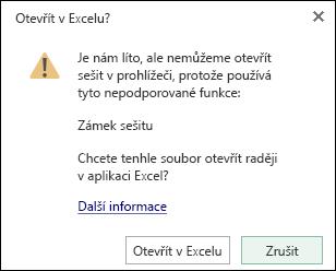 Dialogové okno při otevření sešitu heslem v Excelu Online