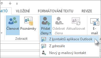 Přidání nových členů z kontaktů Outlooku