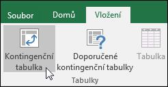 Pokud chcete vložit prázdnou kontingenční tabulku, přejděte na Vložení > Kontingenční tabulka.