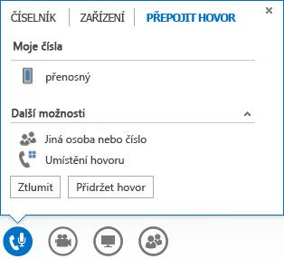 Snímek obrazovky nabídky přepojení hovoru