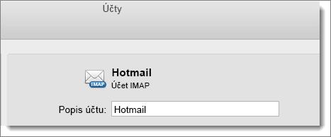Zobrazují se popis a typ účtu Outlooku.