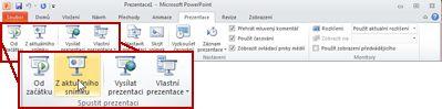 Zobrazení skupiny Spustit prezentaci na kartě Prezentace v aplikaci PowerPoint 2010