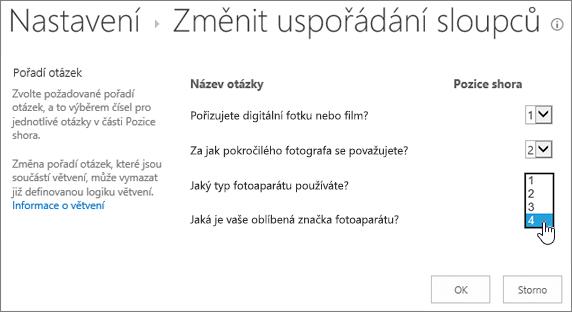 Dialogové okno Změnit otázku pořadí s rozevíracího seznamu na jednu otázku zvýrazněným