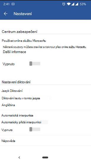 Snímek obrazovky s Diktováním na nastavení telefonu s Androidem