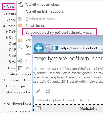 Správa poštovních schránek webu