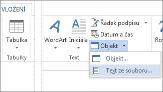 Nabídka Objekt ve skupině Text