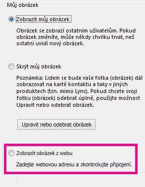 Snímek obrazovky oddílu okna možností Můj obrázek v Lyncu se zvýrazněným výběrem obrázku z webu