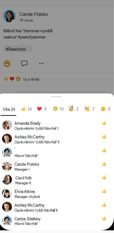 Snímek obrazovky s informacemi o tom, kdo reagoval na konverzaci v Yammeru Mobile