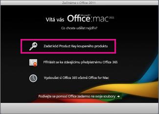 Obrazovka aktivace Office pro Mac
