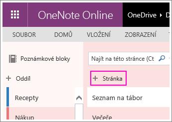 Snímek obrazovky s postupem, jak ve OneNotu Online přidat stránku