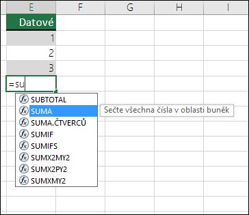 Excel – automatické dokončování vzorce