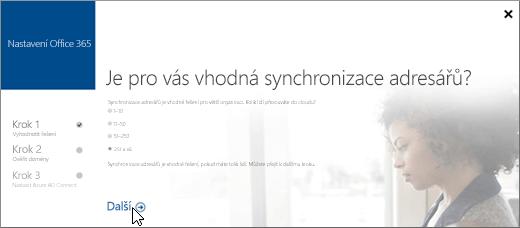 Výběr tlačítka Další pro pokračování v nastavení synchronizace adresářů