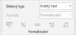 Fragment obrazovky je nejdříve zobrazeno pole Typ dat