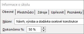 Snímek obrazovky s dialogem podrobností o úkolu s procenty dokončení