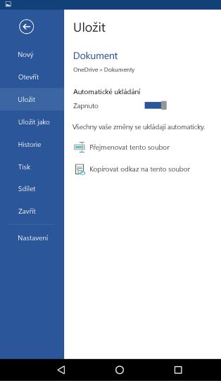 Snímek obrazovky s možností automatického ukládání na telefonu s Androidem