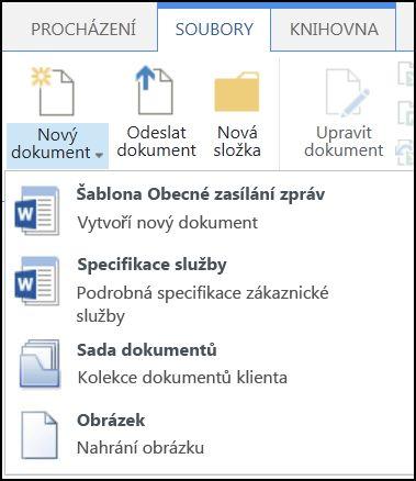 Nabídka Nový dokument s přizpůsobenými typy obsahu na SharePointu