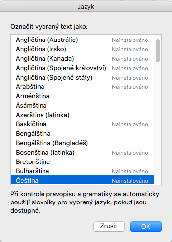 Nástroje kontroly pravopisu v Office pro Mac