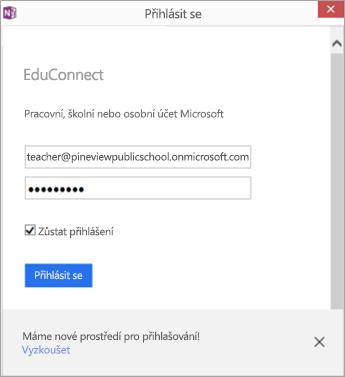 Dialog, který zobrazuje, kam se má zadat školní e-mail a heslo Tlačítko pro přihlášení pomocí EDUConnect
