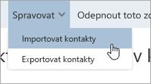 Snímek obrazovky s možností importovat kontakty v nabídce Spravovat