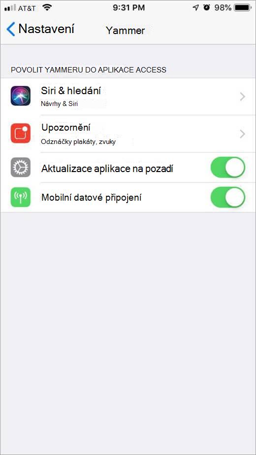 Nabídka nastavení Yammeru pro iOS