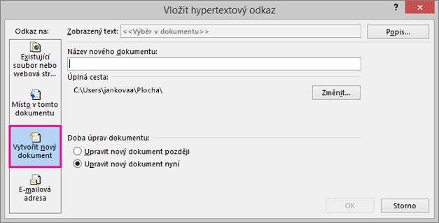 dialogové okno s možností připojení k novému dokumentu